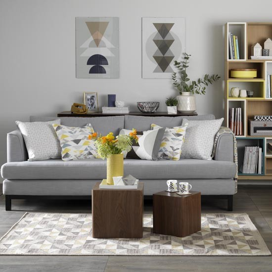 Grey living room with retro textiles in shades of mustard for Living room ideas white and grey