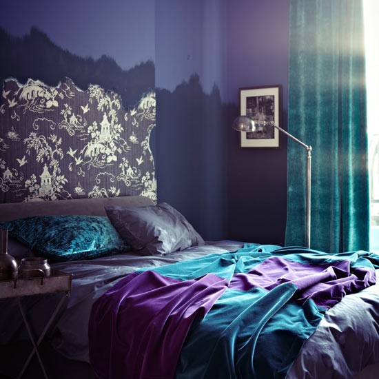 Purple bedroom with turquoise and wallpapered headboard for Turquoise wallpaper for bedroom