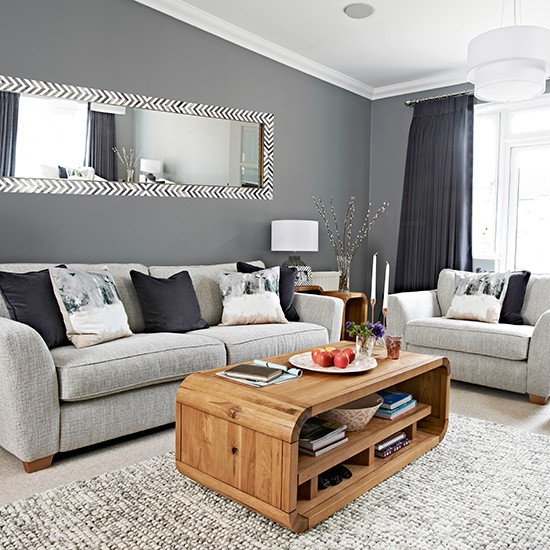 Chic grey living room with clean lines for Front room decorating designs