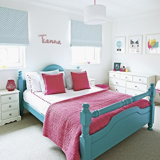 Child 39 s vibrant pink and turquoise bedroom - Turquoise and pink bedroom ...