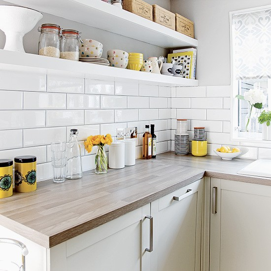 White Kitchen Shelf: White Kitchen With Metro Tiles And Open Shelves