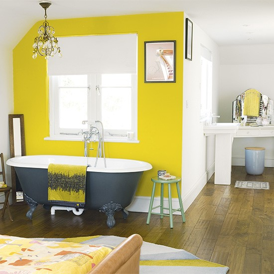 Bedroom With Yellow Painted Feature Wall Bedroom Paint