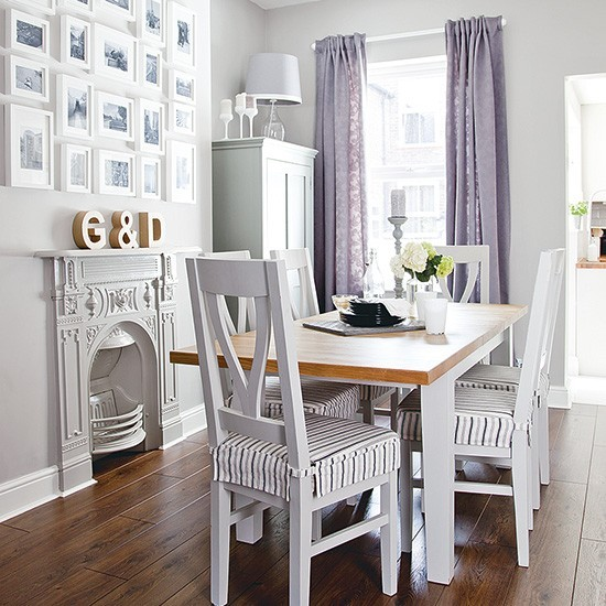 Small dining room with pale grey colour scheme small for Dining room designs uk
