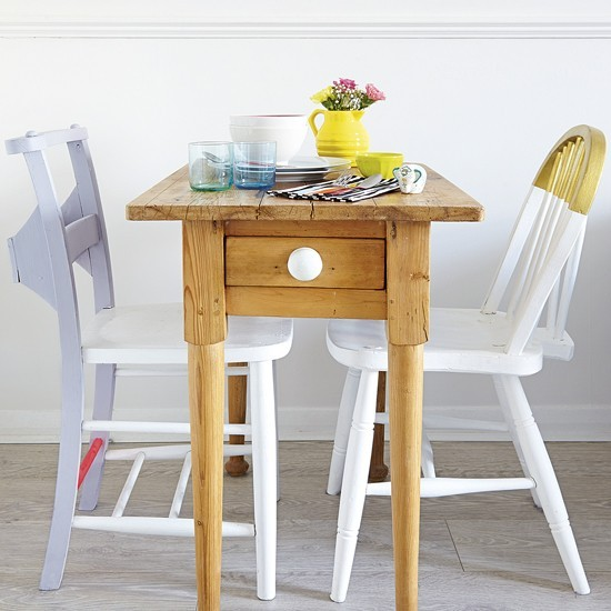 Small dining room with slimline table and painted chairs for Small dining room ideas uk