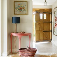 Vintage-style country hallway with painted console table