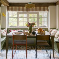 Vintage country dining area with wooden furniture