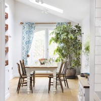 Kitchen-dining area with skylight