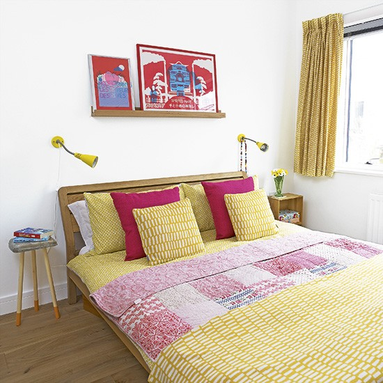 White Bedroom With Yellow And Pink Accents Housetohome Co Uk
