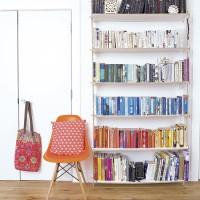 Colour-coded hallway bookshelf