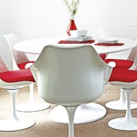 Modern dining area with retro white furniture