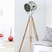 White living room with tripod lamp