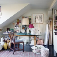 Vintage-inspired craft room with lamp shades