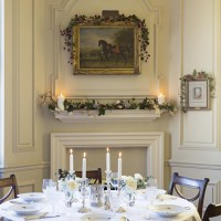 Traditional dining room with Christmas mantel