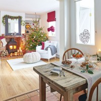 Open-plan dining room with red festive accents