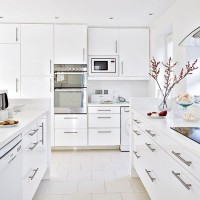 White gloss kitchen with floor-to-ceiling units