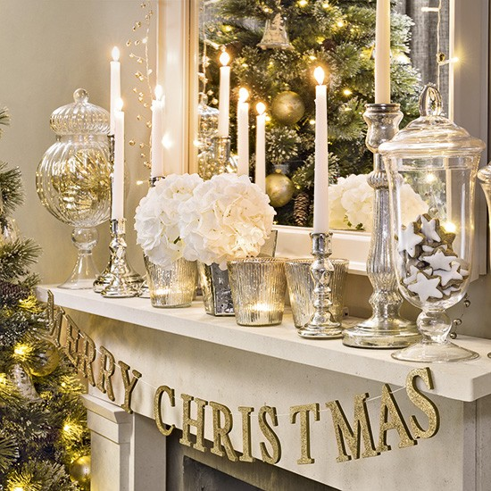 Christmas living room with silver and gold mantel display for Silver ornaments for living room