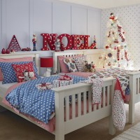 Children's twin bedroom with fun Christmas decorations