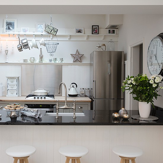 Modern White Kitchen With Open Shelving And Added