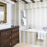 Country bathroom with tongue and groove panels
