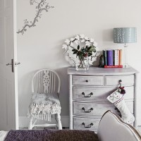 Country bedroom with wall sticker