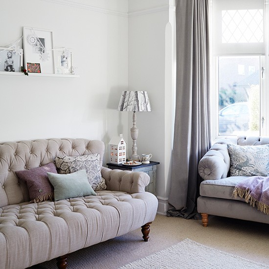 Country Living Room With Button Linen Sofa Housetohome Co Uk