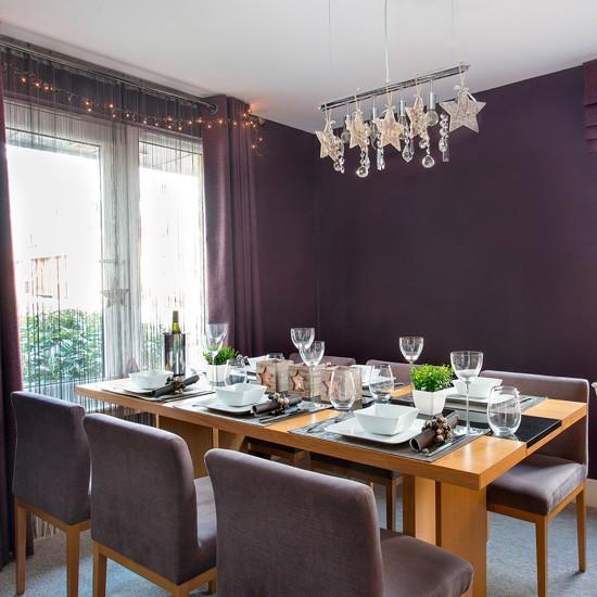 Dark purple dining room