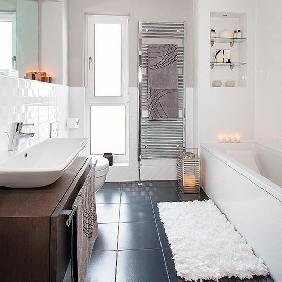 Slate Bathroom Modern Bathrooms And Rustic: Modern Bathroom With White Suite And Dark Grey Slate Tiled Floor
