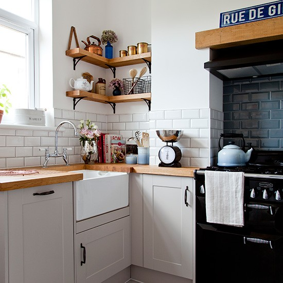 White kitchen corner with metro tiles and wooden worktop for 4m kitchen ideas