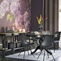 Modern dining room with floral wall mural