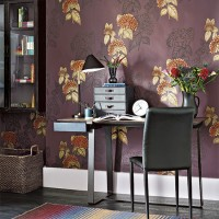 Home office with floral wallpaper