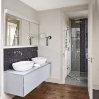 Modern bathroom with hidden walk-in shower