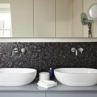 Modern bathroom with twin oval basins