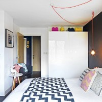 Smart modern bedroom with geometric bed throw