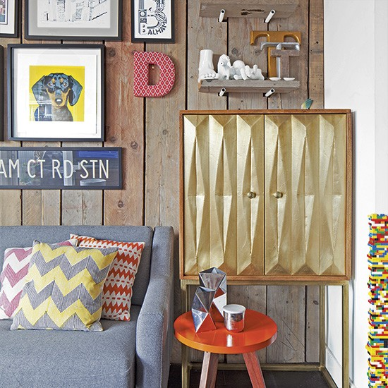 Modern Childrens Room With Colourful Wall Art: Modern Living Room With Panelled Walls And Colourful Wall