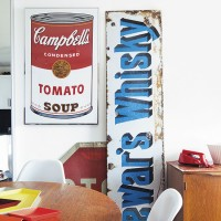 Kitchen corner with pop art and road signs