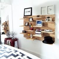 Modern bedroom with bespoke display shelf and floorstanding mirror