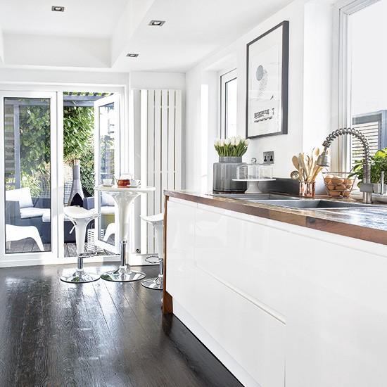 Modern White Kitchen Dark Wood Floor