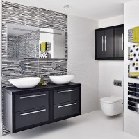 Modern monochrome bathroom with poured resin floor