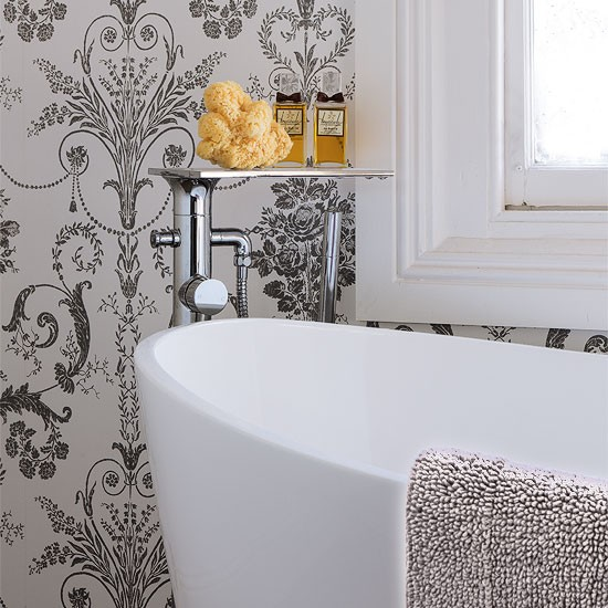 Mono french wallpaper bathroom wallpapers housetohome for Best wallpaper for bathrooms