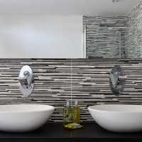 Monochrome bathroom with twin basins