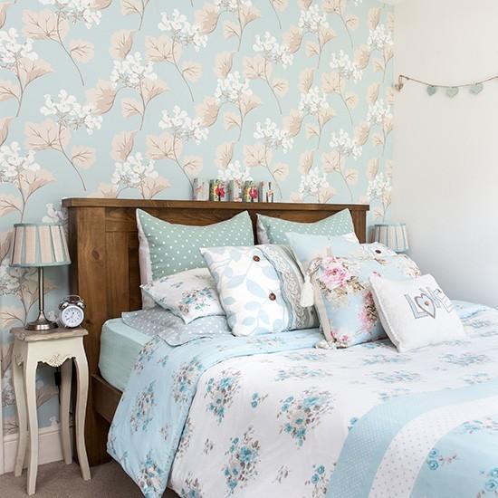 Romantic Bedroom With Pale Blue Prints Romantic Bedroom