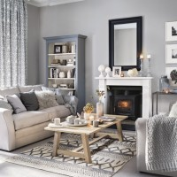 Toning grey living room with subtle texture and pattern