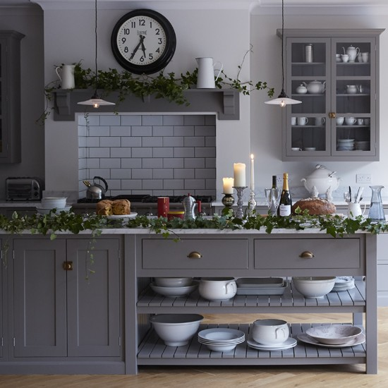 Fadded grey kitchen grey kitchens for Grey kitchen cabinets ideas