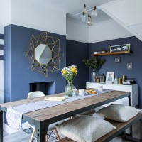 Modern dining room with blue grey walls