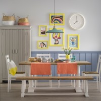 Family-friendly dining room with children's art gallery