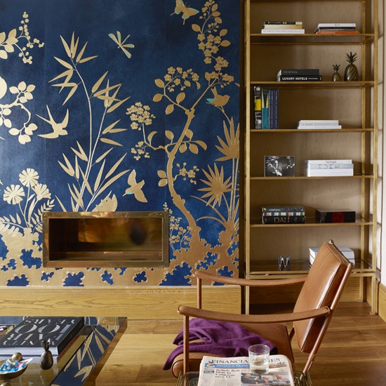 Decorated living room living room colour schemes 10 of for Statement wallpaper living room