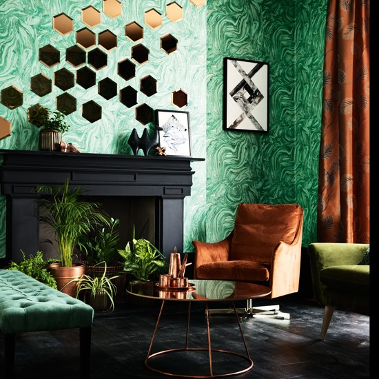 Emerald Green And Copper Living Room Living Room Colour