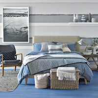Modern bedroom with stormy blue colour scheme