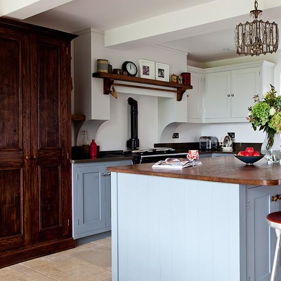 Kitchen With Black Worktops: Blue Kitchen With Dark Wood Worktops
