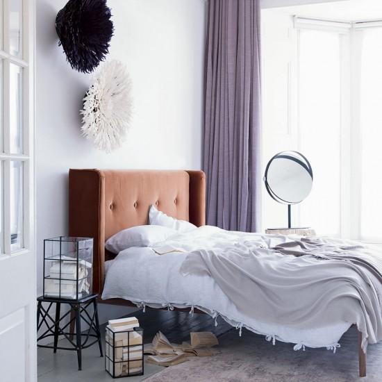Modern White Bedroom With Purple Curtains And Velvet Headboard Housetohome
